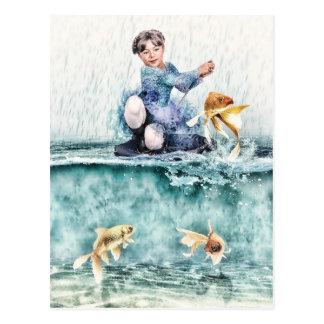 Pesca del chica para los pescados mágicos postal