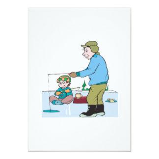 Pesca del hielo del padre y del hijo invitación 12,7 x 17,8 cm