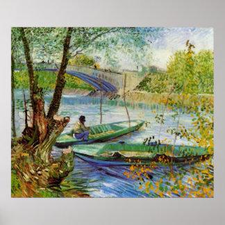 Pesca en primavera de Vincent van Gogh Póster