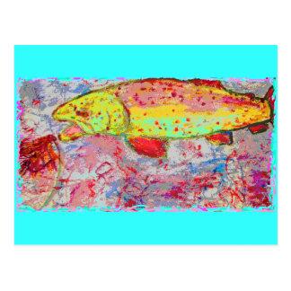 Pesca feliz de la trucha arco iris postal