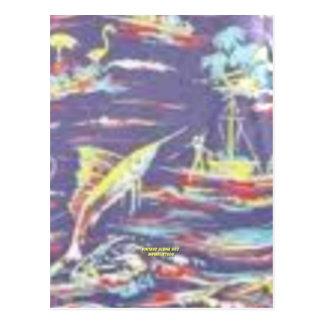 Pesca ida (impresión de la hawaiana del vintage) postal