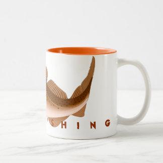 Pesca ida taza de café de dos colores