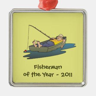 Pescador del premio del año - día perezoso del adorno navideño cuadrado de metal