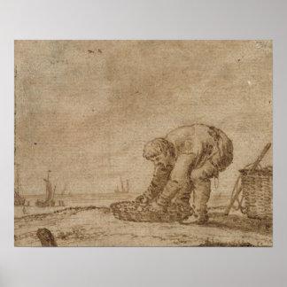 Pescador en la orilla de mar, 1623 póster
