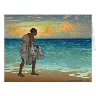 Pescador hawaiano 1920 tarjeta de felicitación grande