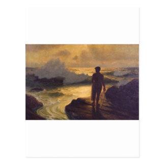 Pescador hawaiano aceite en lona tarjeta postal