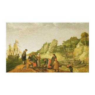 Pescador que descarga y que vende su captura impresión de lienzo