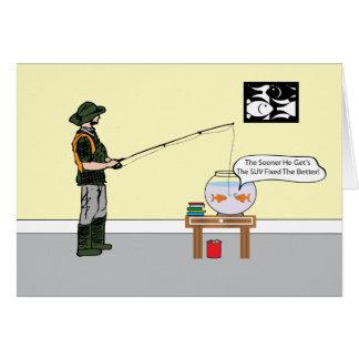 Pescador y COMO tarjeta de cumpleaños del cuenco
