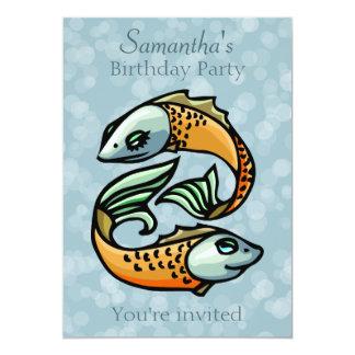 Pescados coloridos de Piscis en fiesta de Invitación 12,7 X 17,8 Cm