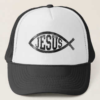 Pescados cristianos de Jesús, Ichthys negro Gorra De Camionero