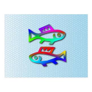 Pescados de arco iris de la muestra de la estrella postal