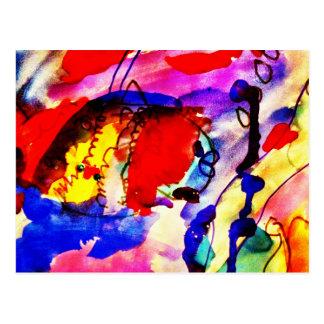 Pescados de arco iris del arte abstracto de los postal