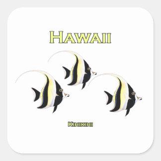 Pescados de Hawaii Kihikihi Pegatina Cuadrada