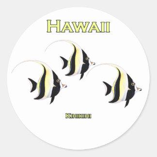 Pescados de Hawaii Kihikihi Pegatina Redonda