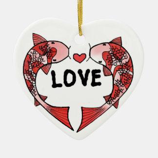 Pescados de Koi con el ornamento de cerámica de la Adorno Navideño De Cerámica En Forma De Corazón