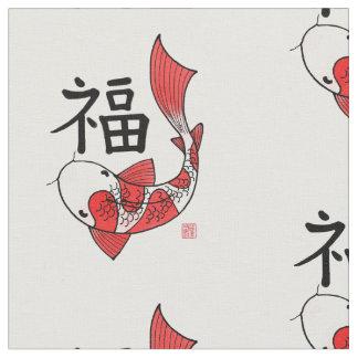 Pescados de Koi con la tela del adorno del