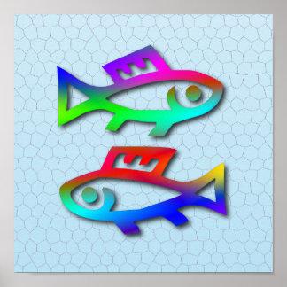 Pescados del color del arco iris de la muestra de  poster