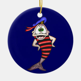 Pescados del marinero adorno redondo de cerámica