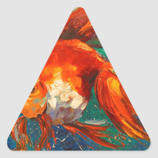 Pescados del oro pegatina triangular