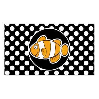 Pescados del payaso en lunares blancos y negros tarjeta de negocio