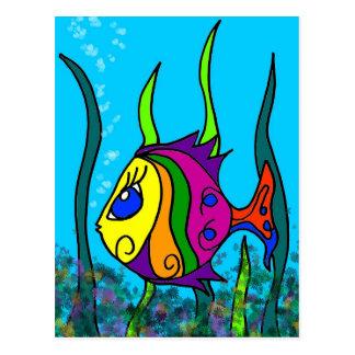 Pescados gordos coloridos postal