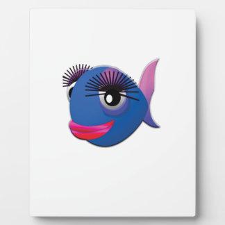 pescados grandes azules de los labios placa expositora