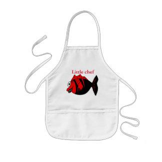 Pescados negros y rojos divertidos y lindos de la delantal infantil