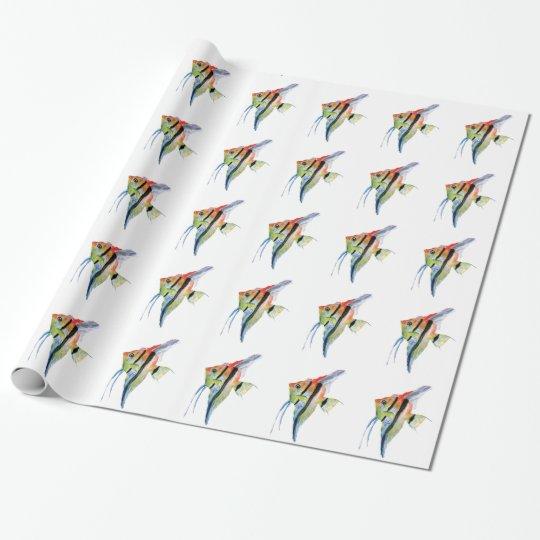 Pescados tropicales que dibujan el papel de papel de regalo