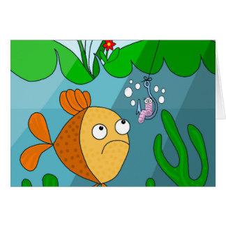 Pescados y gusano tarjeta