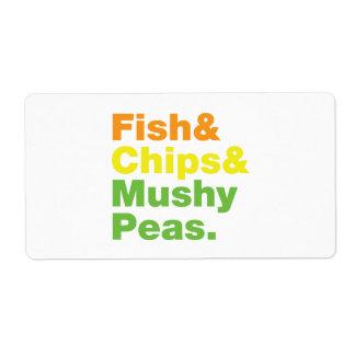 Pescados y microprocesadores y guisantes fofos etiquetas de envío