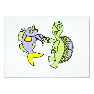 Pescados y tortuga del baile invitación 12,7 x 17,8 cm