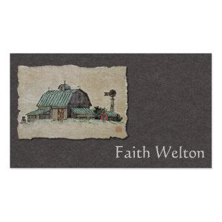 Pesebre y molino de viento del maíz del granero tarjetas de visita