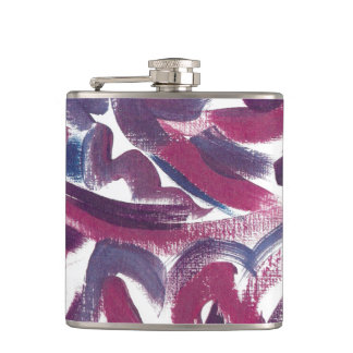 Petaca Arte Pincelada-Moderno púrpura azul pintado a mano