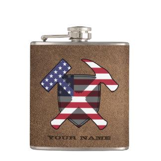 Petaca Bandera americana del escudo del martillo de la