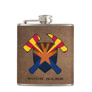 Petaca Bandera de Arizona del escudo del martillo de la