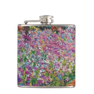 Petaca Claude Monet - iris en bella arte del jardín de