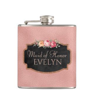 Petaca Criada del frasco color de rosa floral del boda
