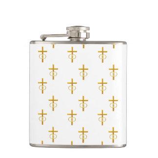 """Petaca cruz de oro de la mirada """"tridimensional"""" con los"""