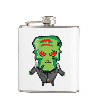 Petaca Dibujo animado rojo y verde Halloween Frankenstein