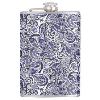 Petaca Diseño blanco azul lindo de los modelos de Paisley