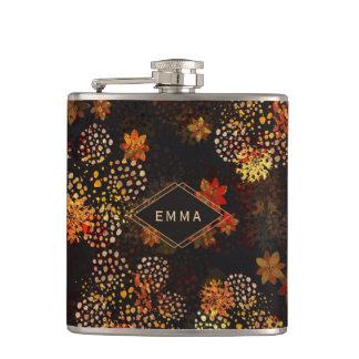Petaca Diseño floral anaranjado y marrón con nombre