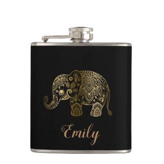 Petaca Elefante lindo de Paisley del oro