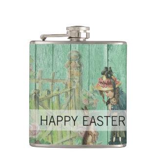 Petaca Escena rústica pintada vintage del conejo de