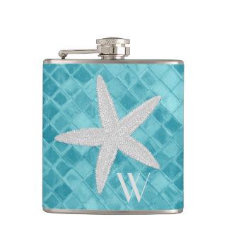 Petaca Estrellas de mar en monograma del vidrio del mar