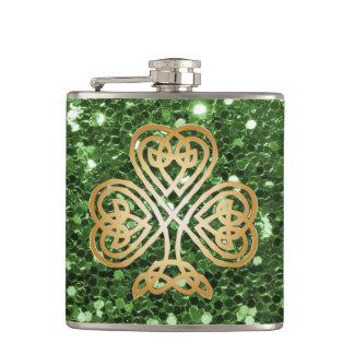 Petaca Falso brillo del verde céltico brillante de oro