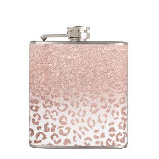 Petaca Falso leopardo color de rosa moderno del ombre del