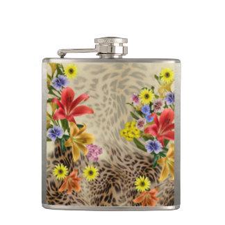 Petaca Flores y estampado leopardo coloridos