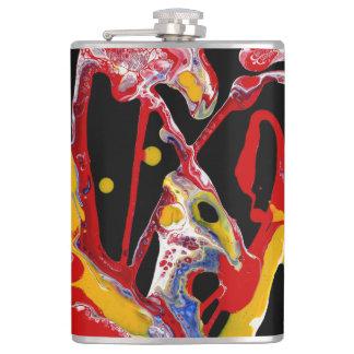 """Petaca Frasco abstracto multicolor negro - """"corazón loco"""