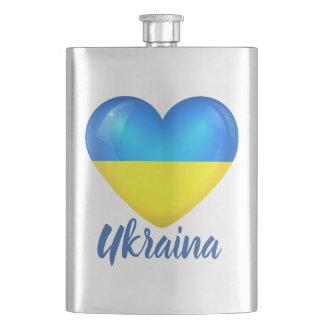 Petaca Frasco amarillo azul ucraniano de la cadera de la
