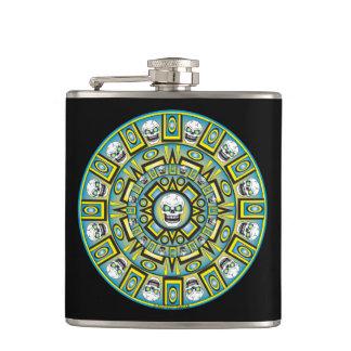 Petaca Frasco azteca del vinilo del diseño del calendario